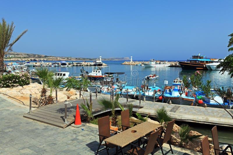 Ayia Napa,塞浦路斯小游艇船坞  免版税库存照片