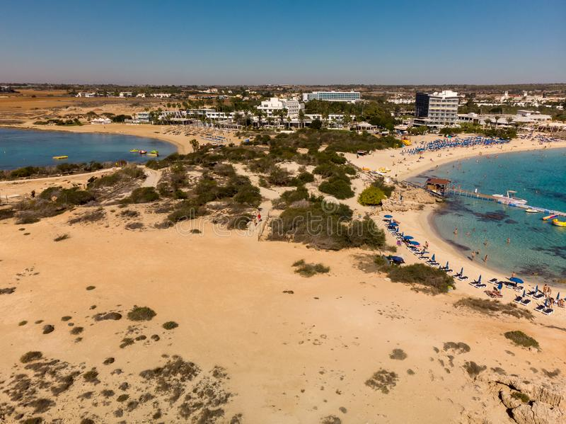 Ayia Napa, Cyprus - November 1. 2018. Mediterranean coast in resort area. Ayia Napa, Cyprus - November 1. 2018. Mediterranean coast in the resort area stock photography