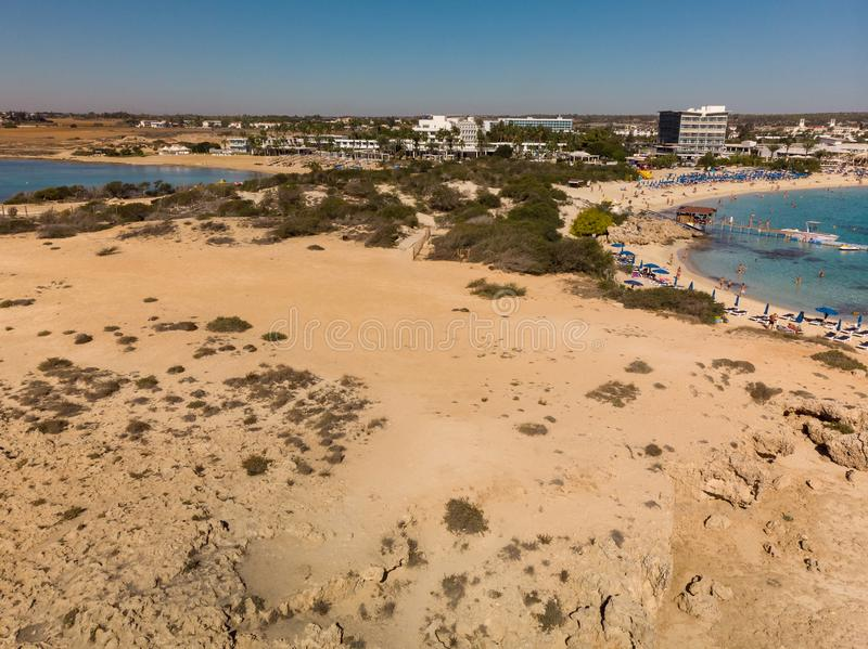 Ayia Napa, Cyprus - November 1. 2018. Mediterranean coast in resort area. Ayia Napa, Cyprus - November 1. 2018. Mediterranean coast in the resort area stock photos