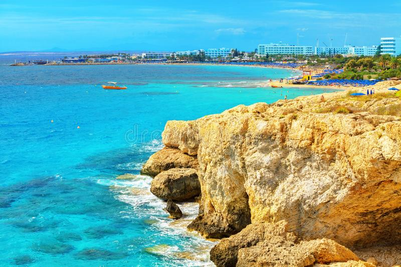 Ayia Napa linia brzegowa Cypr fotografia royalty free