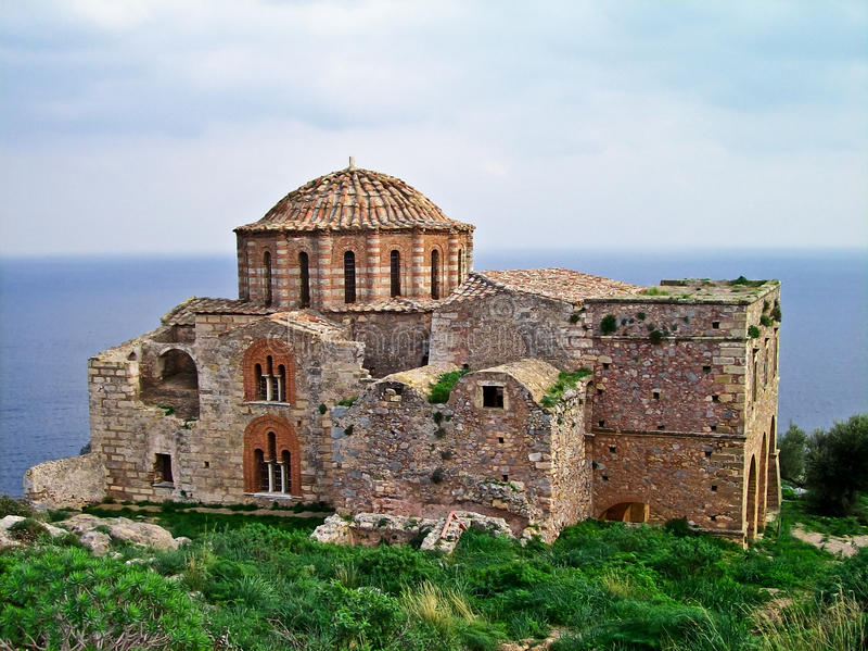 Ayia Sophia Kirche bei Monemvasia, Griechenland stockfotos