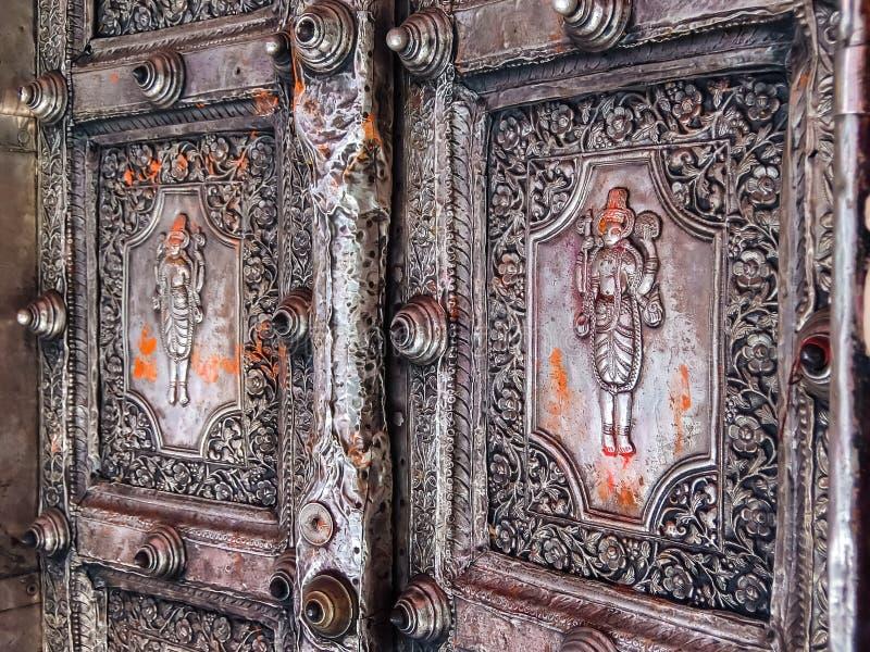 Ayodhya, Ινδία Ναός Garhi Hanuman Λεπτομέρειες της αρχιτεκτονικής στοκ φωτογραφίες