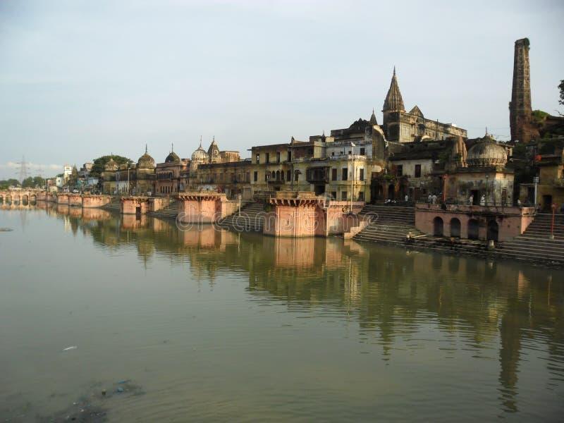Ayodhya A blick från RAMki-Pauri royaltyfri bild