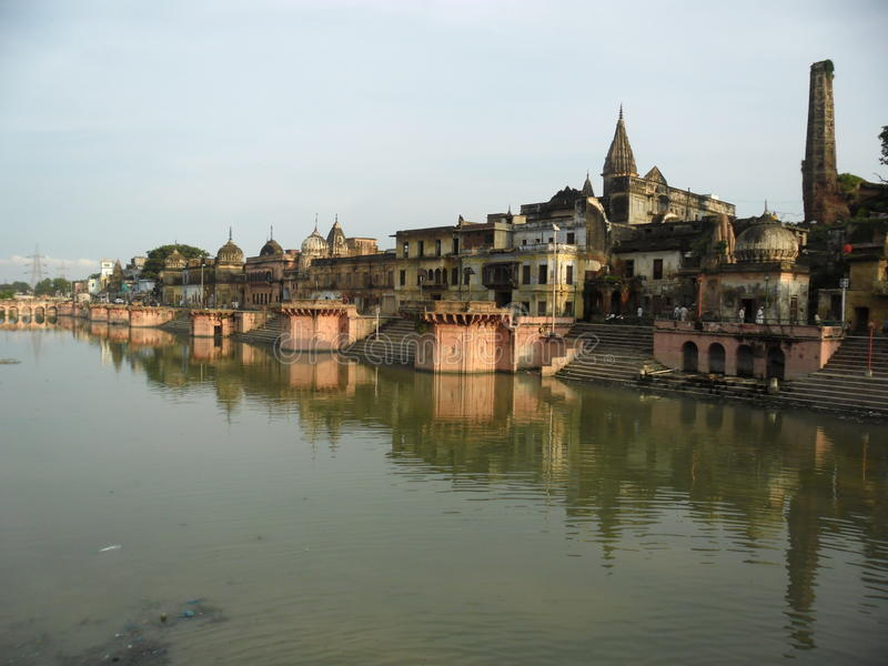 Ayodhya- A look from Ram ki-Pauri royalty free stock image