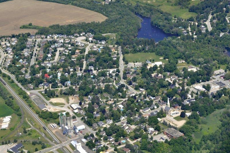 Ayr Ontario aerial. Aerial view of a residential neighborhood in Dundas Ontario Canada royalty free stock photography