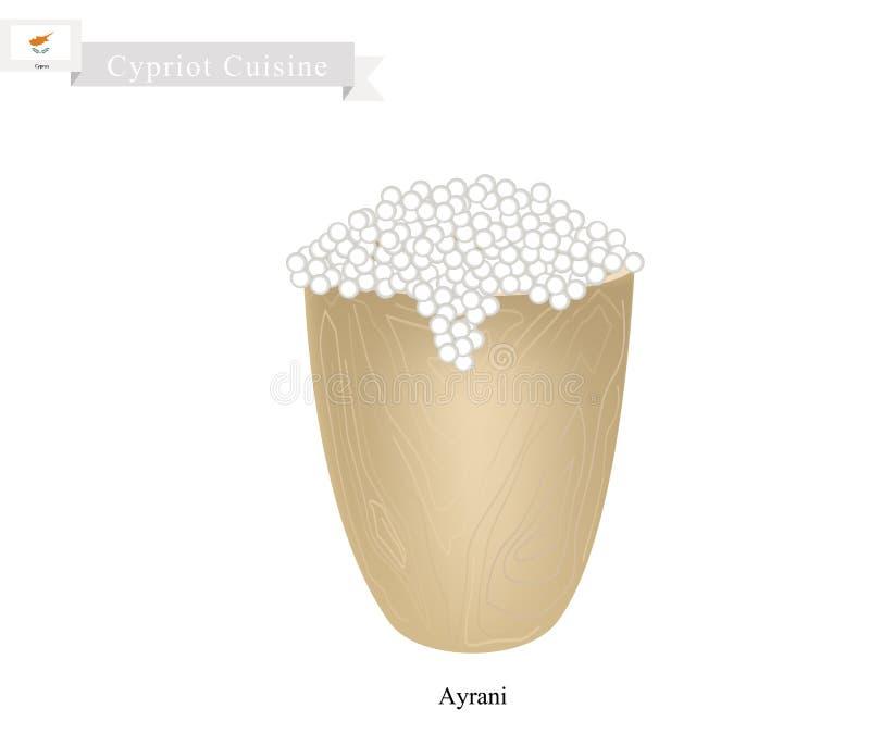 Ayrani lub cypryjczyk Fermentujący mleko z Kwaśnym smakiem ilustracji