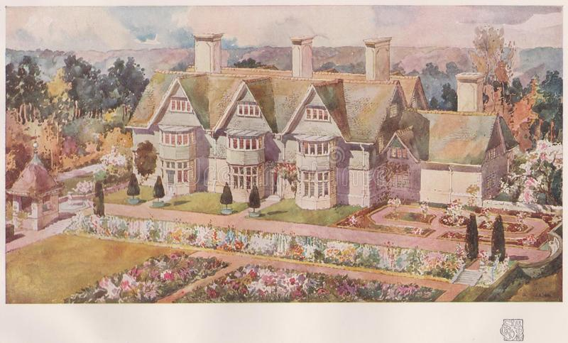 AYRSHIRE, dom PRZY TROON, Około 1910, Arnold Mitchell, architekt - Publikujący w Pracownianym Magazin, Londyn OKOŁO 1910 fotografia royalty free