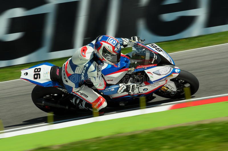 Ayrton Badovini BMW S1000 RR JR Racing Team Imola SBK 2015. Superbike royalty free stock photography