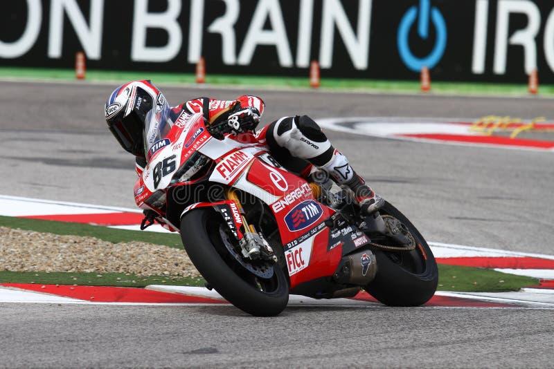 Ayrton Badovini #86 sur Ducati Panigale 1199 R Team Ducati Alstare Superbike WSBK images libres de droits
