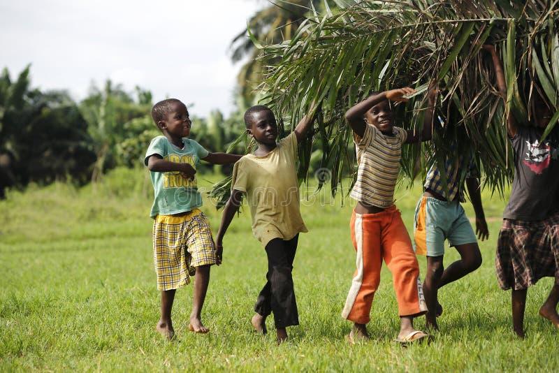 Ayuda africana de los niños con las hojas de palma que cuidan fotografía de archivo libre de regalías