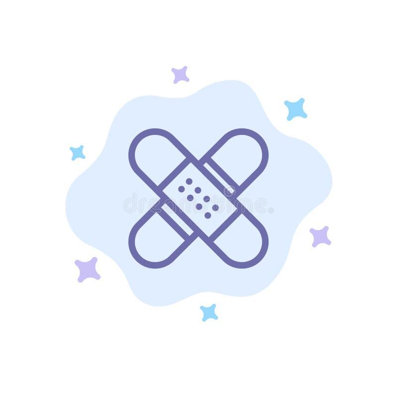 Ayuda, banda, atención sanitaria, equipo, médico, icono azul de la cinta en fondo abstracto de la nube ilustración del vector