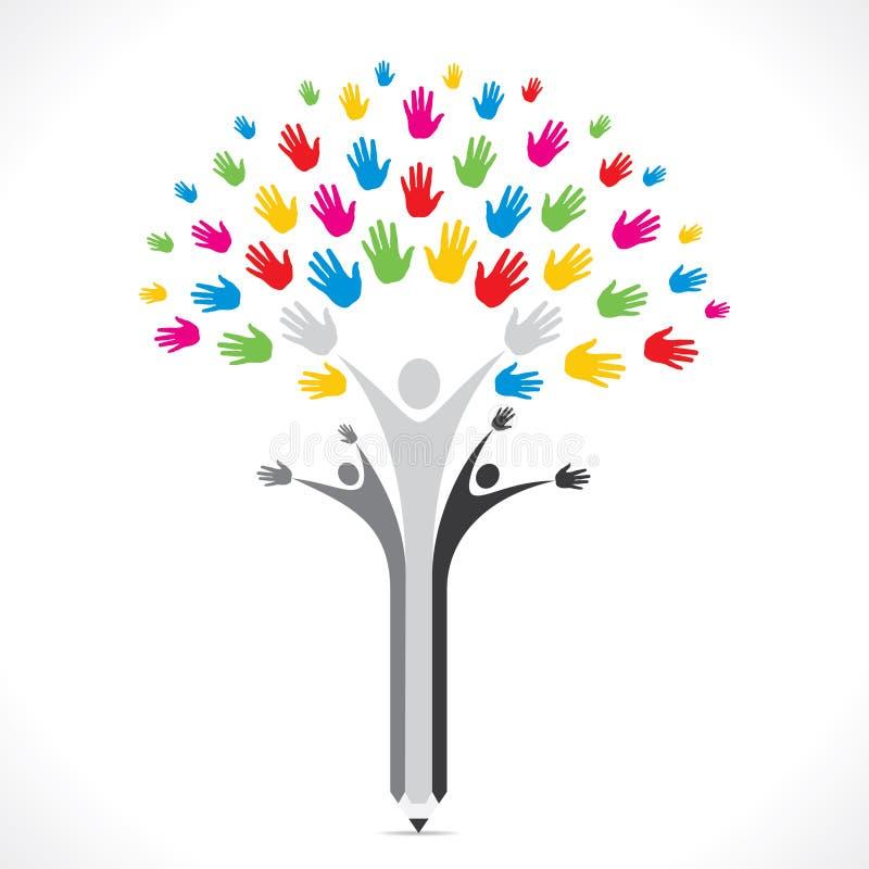 Ayuda colorida del árbol del lápiz de la mano o concepto unido ilustración del vector