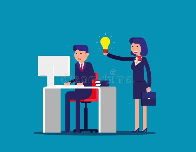 Ayuda con la idea de un colega Ejemplo del vector de la oficina de negocios del concepto Historieta plana; carácter del negocio;  libre illustration