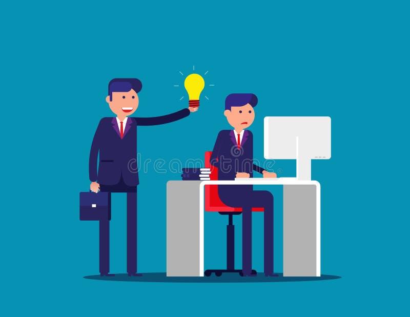 Ayuda con la idea de un colega Ejemplo del vector de la oficina de negocios del concepto Historieta plana; carácter del negocio;  stock de ilustración
