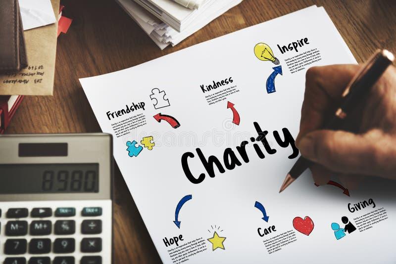 Ayuda de la ayuda de las donaciones de la caridad que da concepto de la comunidad foto de archivo libre de regalías