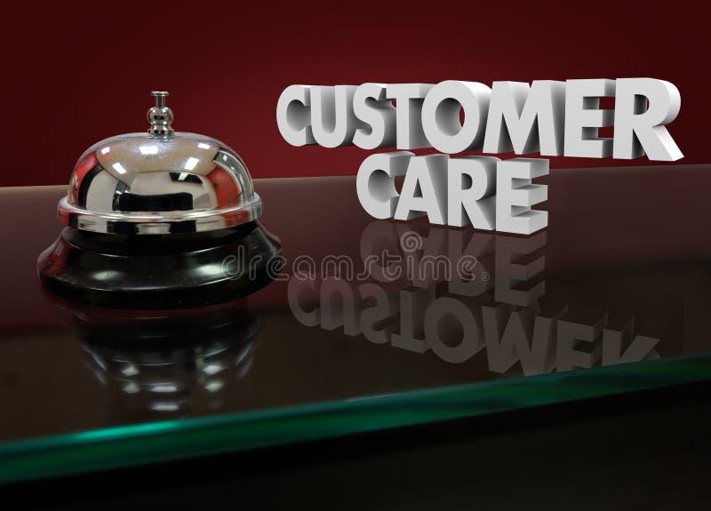 Ayuda de la ayuda del escritorio del pasillo de Bell de las palabras del cuidado 3d del cliente ilustración del vector