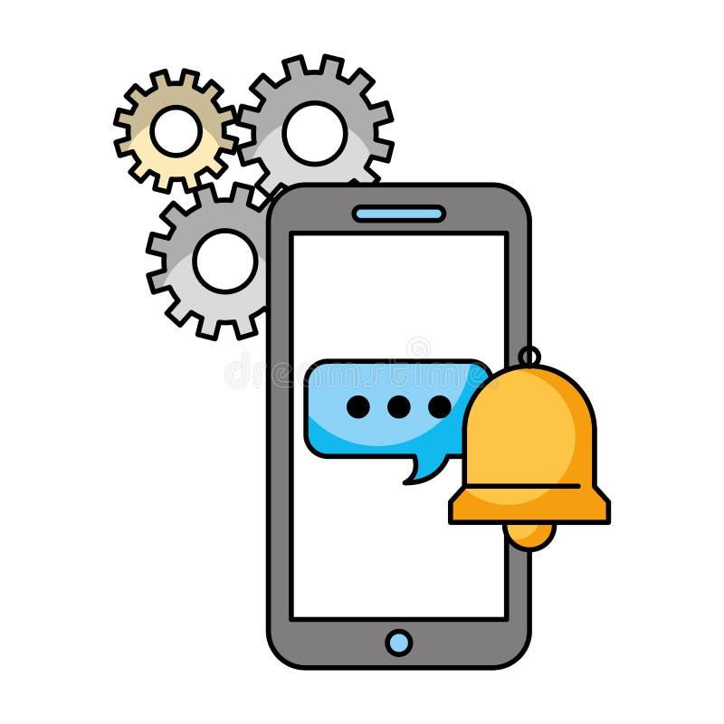 Ayuda de la campana de la burbuja del discurso del smartphone del centro de atenci?n telef?nica libre illustration