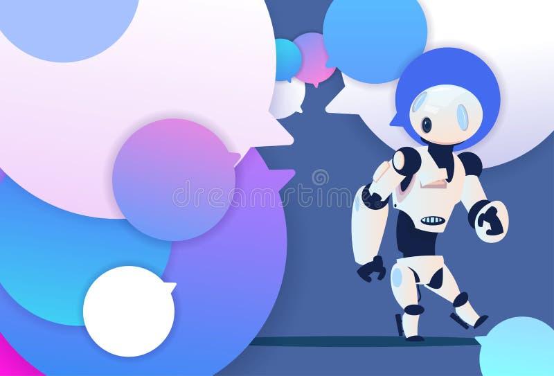 Ayuda de la charla de la idea del robot del perfil nueva sobre el backgroung de las burbujas, plano integral del icono de la hist libre illustration