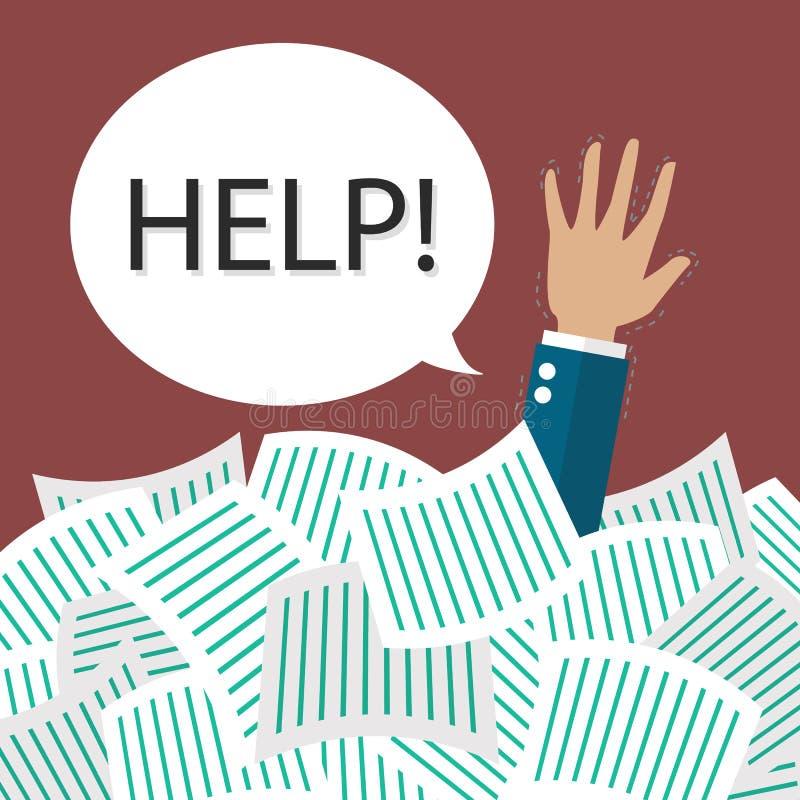 Ayuda de la necesidad del hombre de negocios conforme a muchos documentos ilustración del vector