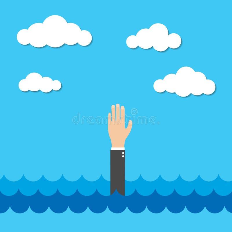 Ayuda de la necesidad del hombre de negocios, vector ilustración del vector