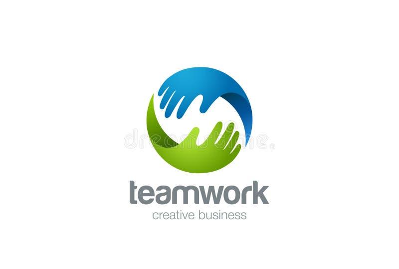 Ayuda de las manos del logotipo dos del trabajo en equipo libre illustration