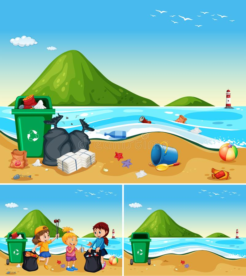 Ayuda de los niños que limpia la playa sucia stock de ilustración