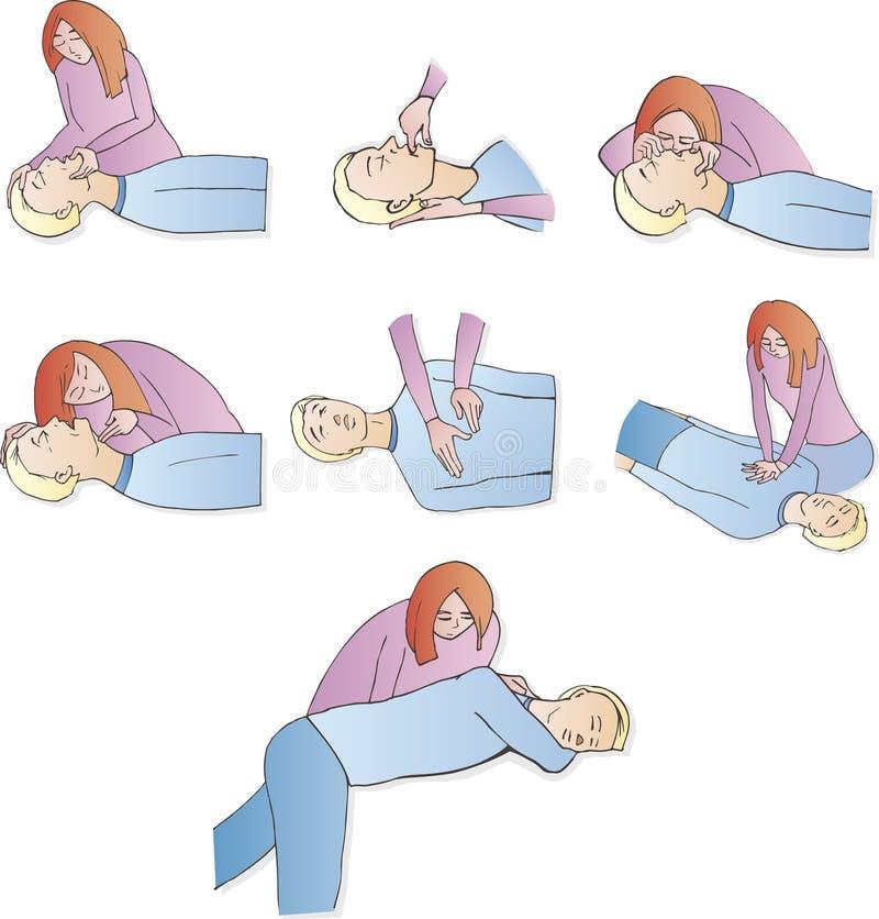Ayuda de los primeros auxilios stock de ilustración
