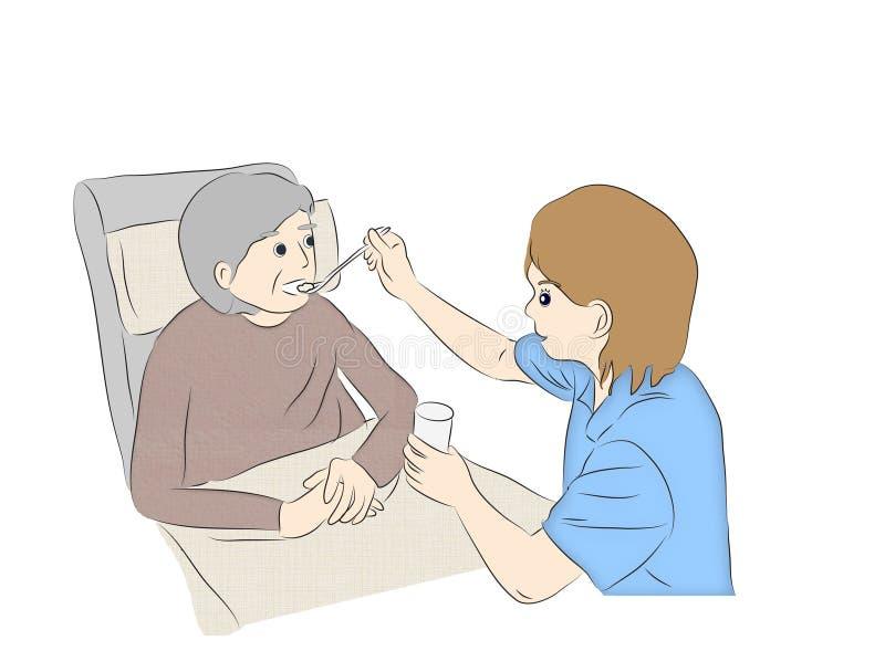 Ayuda del cuidado de la atención sanitaria a domicilio, cuidando para los mayores ilustración del vector