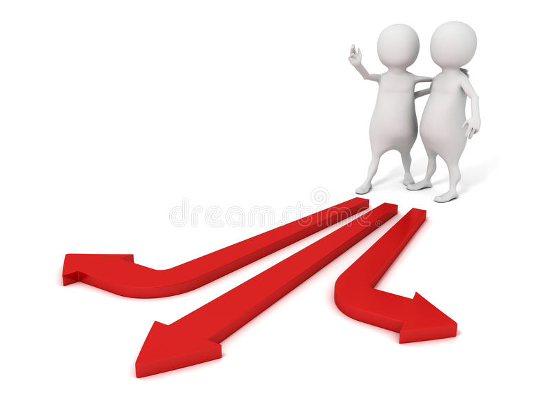 ayuda del hombre 3d para tomar la decisión para el socio en maneras de la flecha ilustración del vector