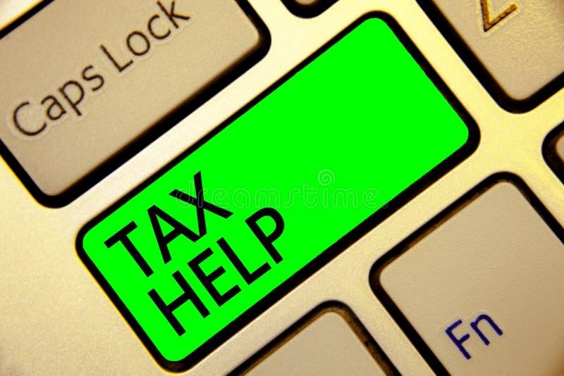 Ayuda del impuesto del texto de la escritura de la palabra Concepto del negocio para la ayuda de la contribución obligatoria a la fotografía de archivo libre de regalías