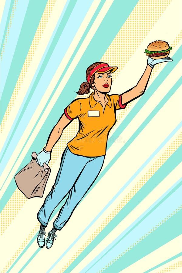 Ayuda del super héroe del vuelo de la entrega de los alimentos de preparación rápida de Burger de la camarera ilustración del vector