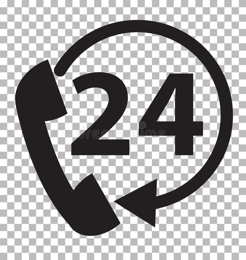 Ayuda del teléfono 24 horas en fondo transparente ilustración del vector