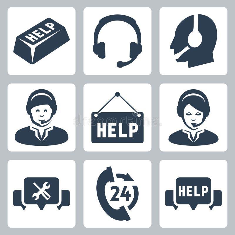 Ayuda del vector, iconos del centro de atención telefónica stock de ilustración
