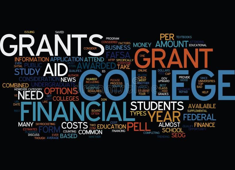 Ayuda económica para el concepto de la nube de la palabra del fondo del texto de las concesiones de estudiantes universitarios ilustración del vector