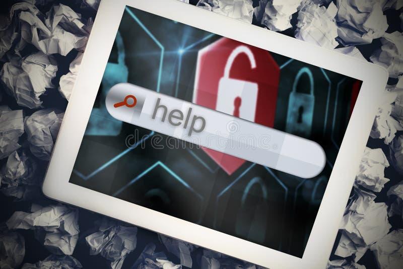 Ayuda en barra de la búsqueda en la pantalla de la tableta fotos de archivo libres de regalías
