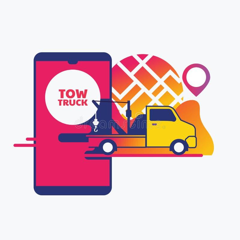 Ayuda en línea del borde de la carretera, concepto móvil del app del servicio de remolque del coche ilustración del vector