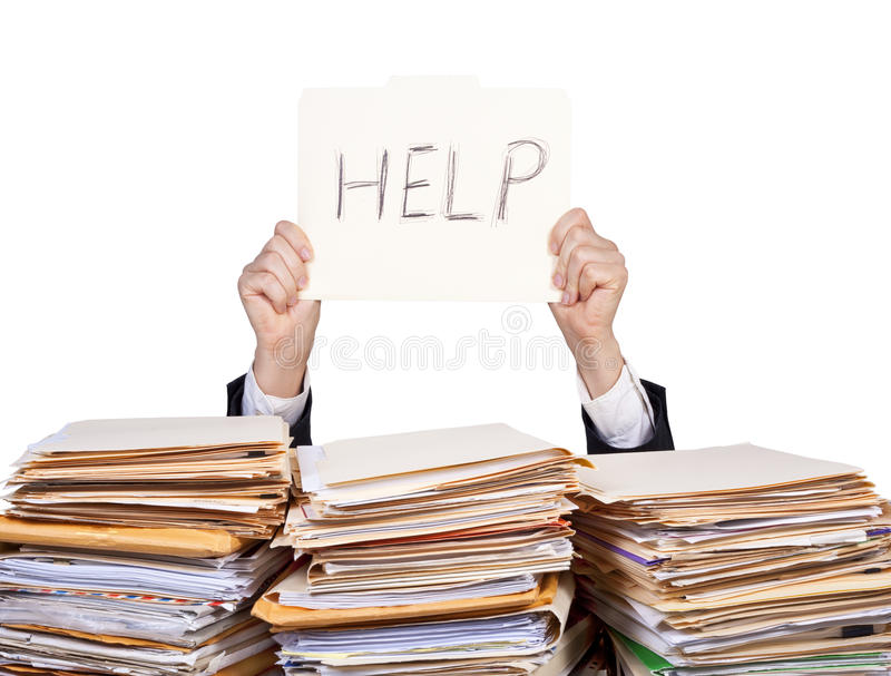Ayuda - hombre de negocios con exceso de trabajo imagen de archivo