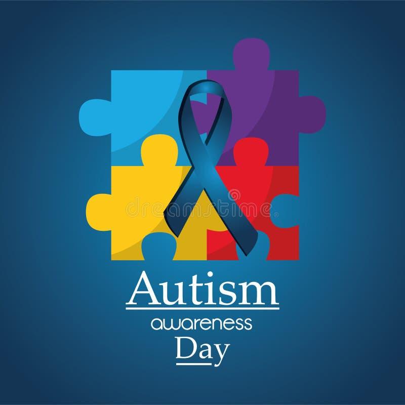 Ayuda médica del cartel del día de la conciencia del autismo libre illustration