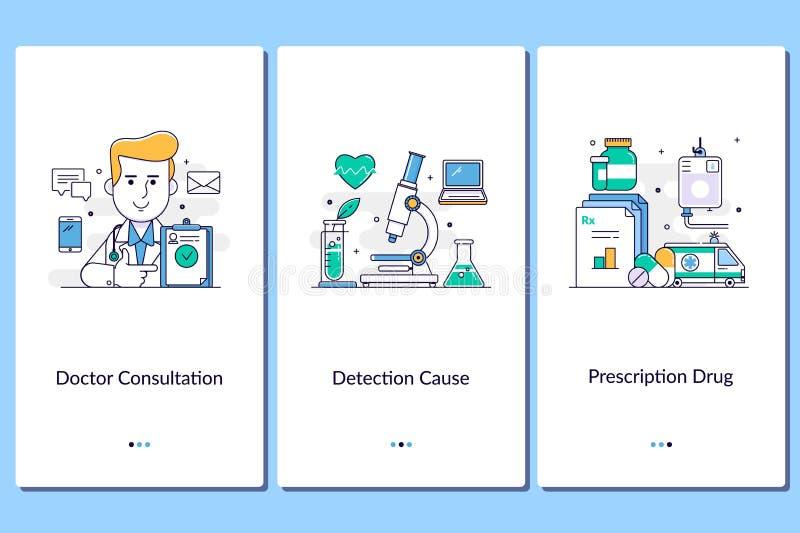 Ayuda médica en línea, apps médicos móviles Doctor, enfermera, clínica, tratamiento, anamnesis Gráfico de los pasos del servicio  stock de ilustración