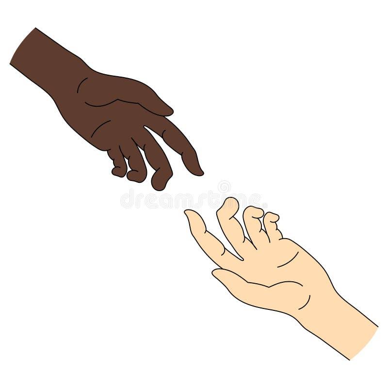 Ayuda multinacional Igualdad de la raza Icono de la mano amiga aislado en el fondo blanco Ilustración del vector para su agua dul stock de ilustración