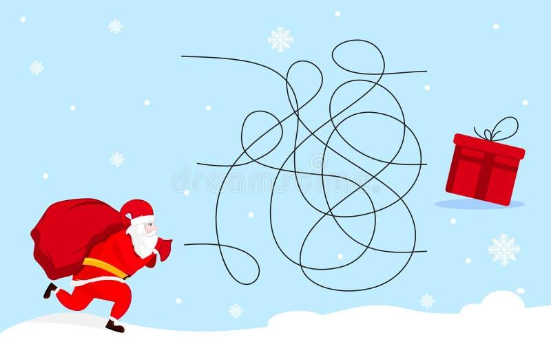 Ayuda Santa Claus encontrar el presente Juego del laberinto del laberinto de la Navidad Dise?o del ejemplo del vector ilustración del vector