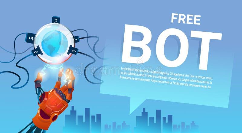 Ayuda virtual del robot libre del Bot de la charla del sitio web o de las aplicaciones móviles, concepto de la inteligencia artif ilustración del vector