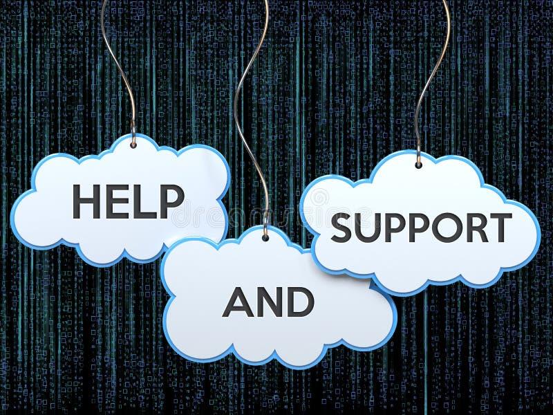 Ayuda y ayuda en bandera de la nube ilustración del vector