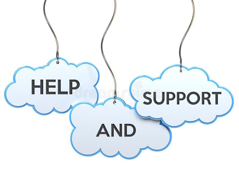 Ayuda y ayuda en bandera de la nube stock de ilustración