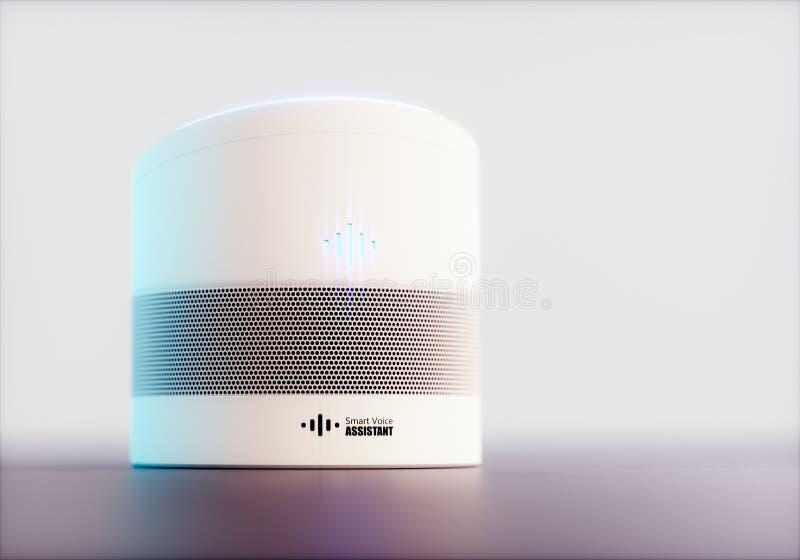 Ayudante activado por voz inteligente casero concepto de la representación 3D de recogn futurista de alta tecnología blanco del d stock de ilustración