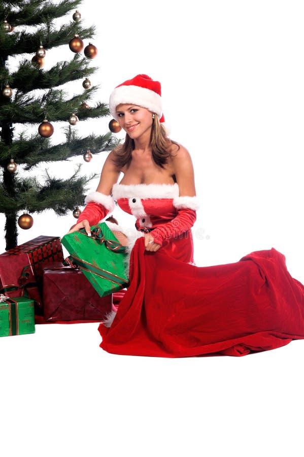 Ayudante atractivo de Santa foto de archivo libre de regalías