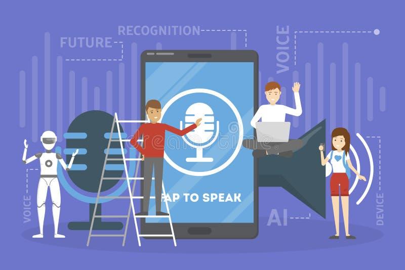Ayudante de la voz en el concepto del teléfono móvil stock de ilustración