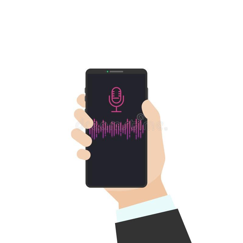 Ayudante de la voz en el teléfono ilustración del vector
