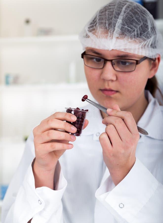 Ayudante de laboratorio en el laboratorio de la comida imagenes de archivo