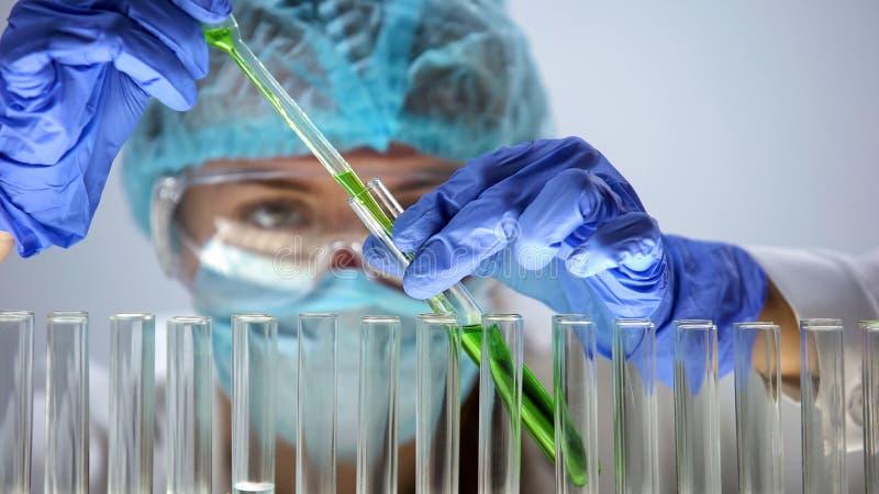 Ayudante de laboratorio que vierte el l?quido verde en el tubo de ensayo, productos org?nicos fotos de archivo